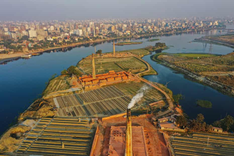 Aerial view of a newly urbanised area and brickfield, in Dhaka.