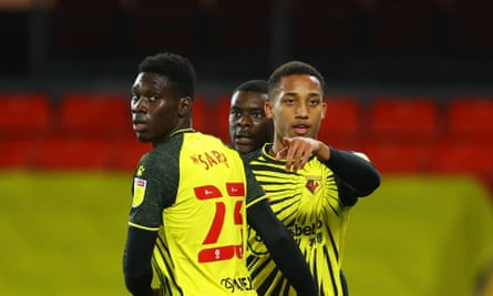 João Pedro (right) celebrates his opener against Blackburn with Ismaïla Sarr as Watford bare their teeth in the Championship after being relegated from the Premier League.