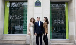 Former CEO Marc Bolland with models outside the planned M&S store on the Champs Elysées, Paris, in 2011. The France flagship store will now close.