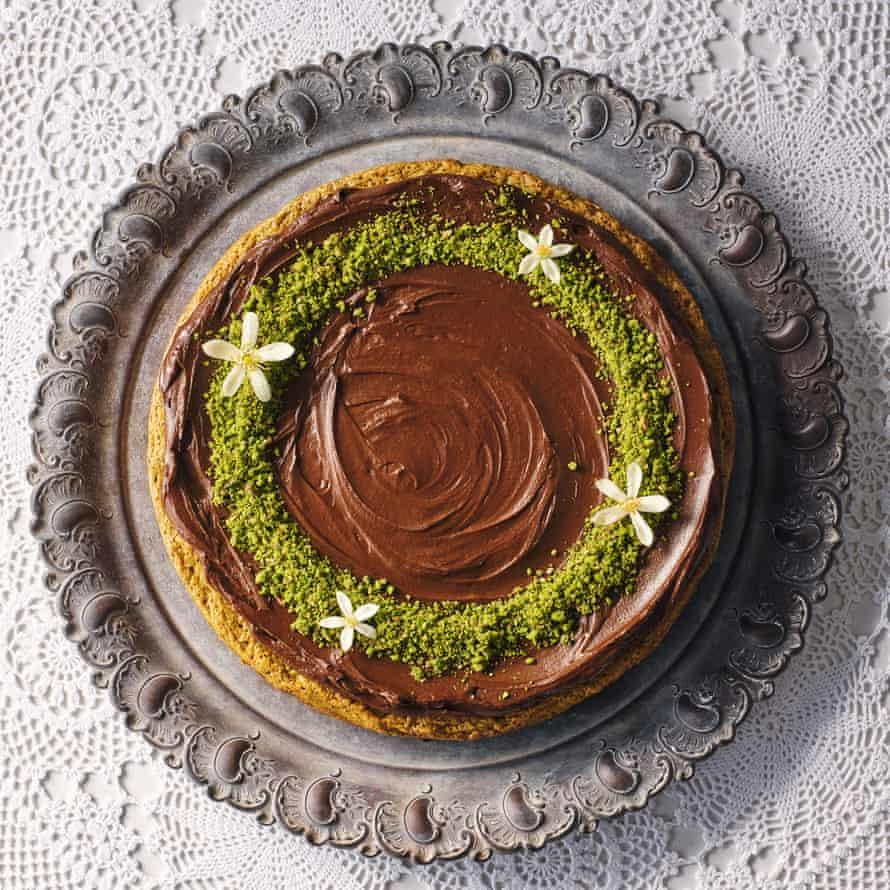 Pistachio cake with orange-blossom ganache.