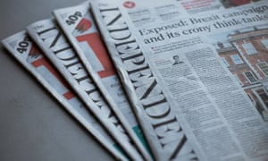 Copies of the Independent and i newspapers