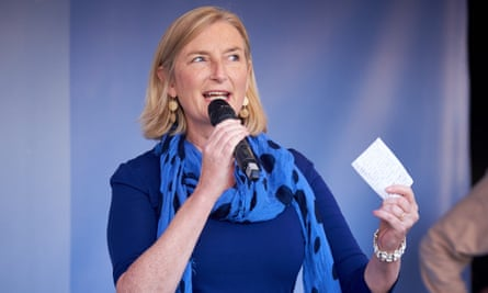 The Conservative MP Sarah Wollaston speaks at the People's Vote march.