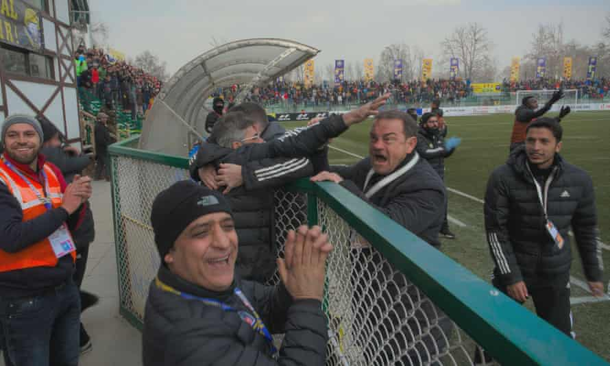 Davie Robertson (second right) lets out his emotions on the touchline at Real Kashmir FC