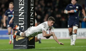 George Ford scores the last minute try for England that tied the game.