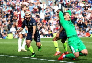 April 28: Sergio Aguero of Manchester City celebrates after scoring his team's first goal against Burnley.