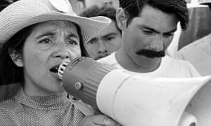 Dolores Huerta, organizing marchers in Coachella, in 1967.