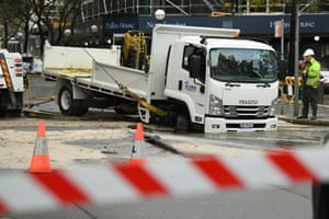 A truck stuck in a sinkhole at Double Bay in Sydney on Tuesday morning.
