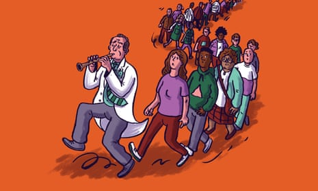 Illustration shows a figure a in a white coat piping at the head of a snaking line of people