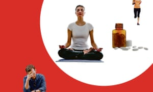 Illustration of woman doing yoga, a woman running, a bottle of pills and a stressed-looking man