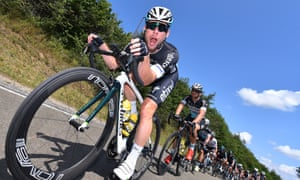 Mark Cavendish is either in a chipper mode or dishing out advice to a cameraman who got a little too close.