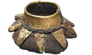 The top of a wooden drinking bottle with decorated gold neck found at Prittlewell.
