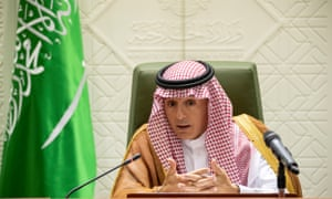 Saudi foreign minister Adel al-Jubeir speaks to reporters in Riyadh on 8 August.