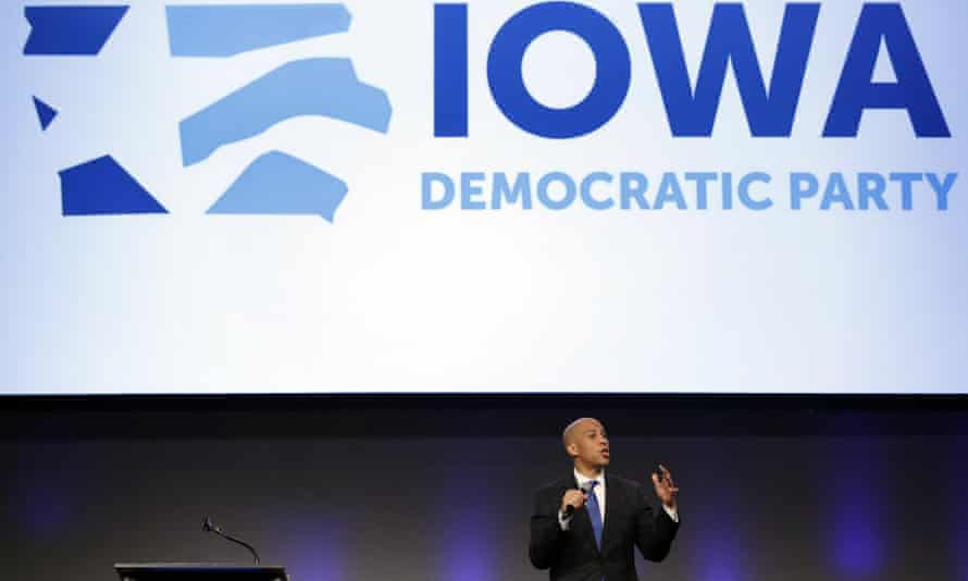 Cory Booker speaks at the Iowa Democratic Party's Fall Gala, in Des Moines in October.