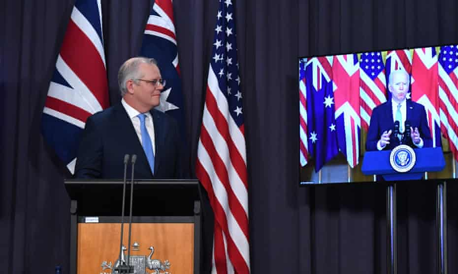Prime minister Scott Morrison's announcing the Aukus pact with UK PM Boris Johnson and US President Joe Biden