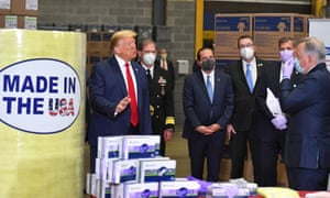Donald Trump visits medical supply distributor Owens and Minor Inc in Allentown, Pennsylvania on May 14.