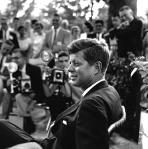 John F Kennedy meets the press after winning the election for the US presidency in November 1960.