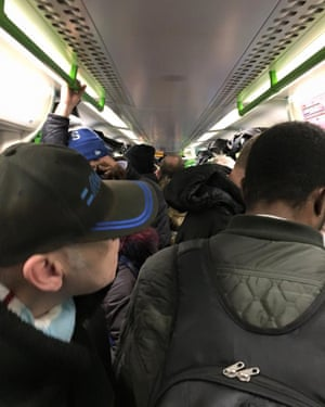 One commuter's view of the packed 7.58am train from Laindon, Essex, into London.