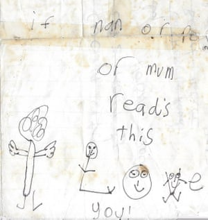 A hand-drawn picture of a family