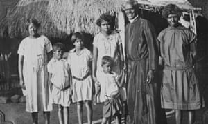 The Reverend James Noble and his wife Angelina, left, with their family at Forrest River mission in 1925