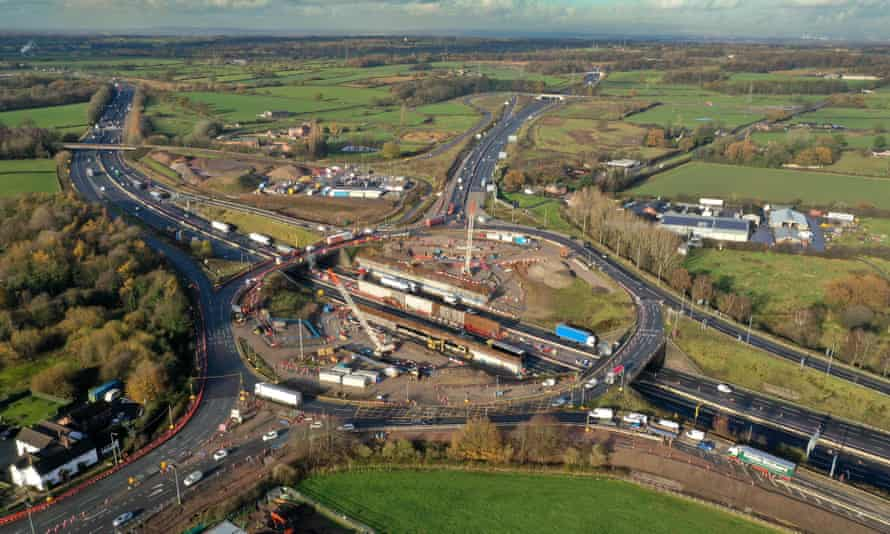 Roadworks at the M6 in Cheshire: