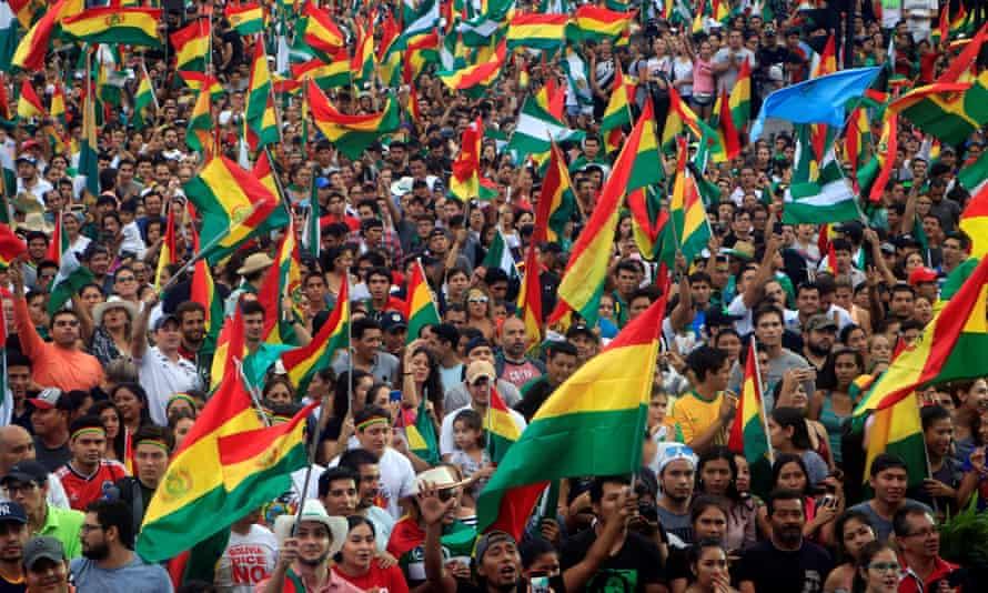 Bolivians celebrate the resignation of Evo Morales in La Paz.