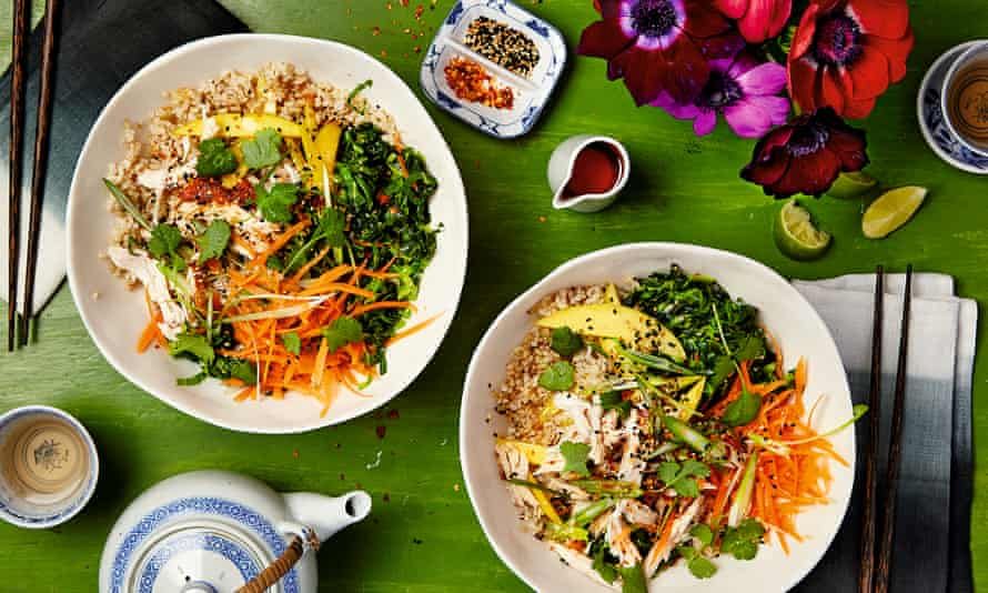 Thomasina Miers' Japanese rice bowl with roast chicken, carrot and ginger.