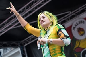 Lily Allen on stage in London last year