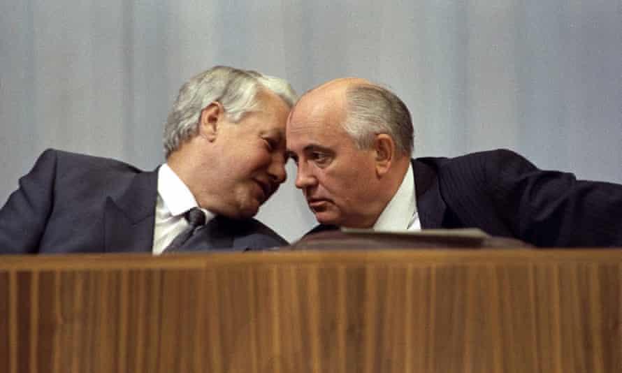 Boris Yeltsin and Gorbachev, 1991.