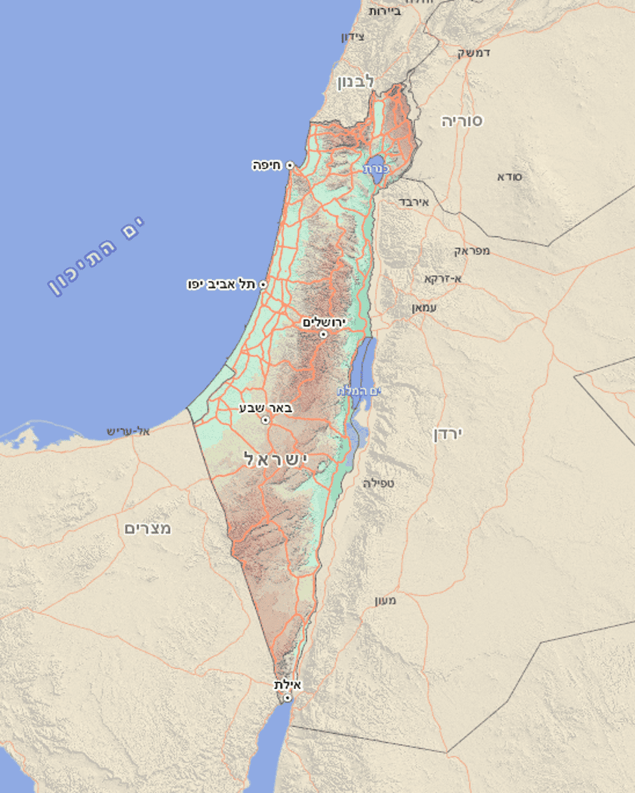 Official map of Israel, integrating the occupied territories and showing no Palestinian place-names, as seen on 18 August 2016.