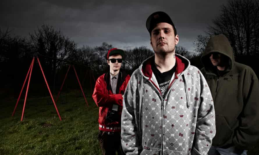Three vigilantes were featured in the 2015 Channel 4 show The Paedophile Hunter. Left to right: Grime, Stinson Hunter and Stubbs.
