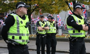 Police at a Scottish independence rally in Glasgow in November