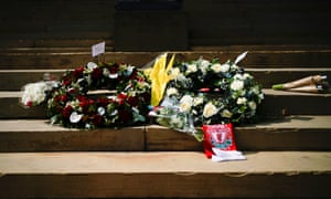 Flowers on the steps of Liverpool's Saint George's Hall on the 30th anniversary of the Hillsborough tragedy.
