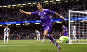 Cristiano Ronaldo wheels away in celebration.