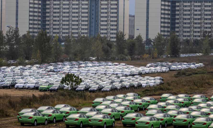A carpark full of cars produced at the BYD factory in Xian, China
