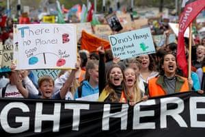 Auckland, New Zealand Demonstrators march down Queen Street to Quay Street