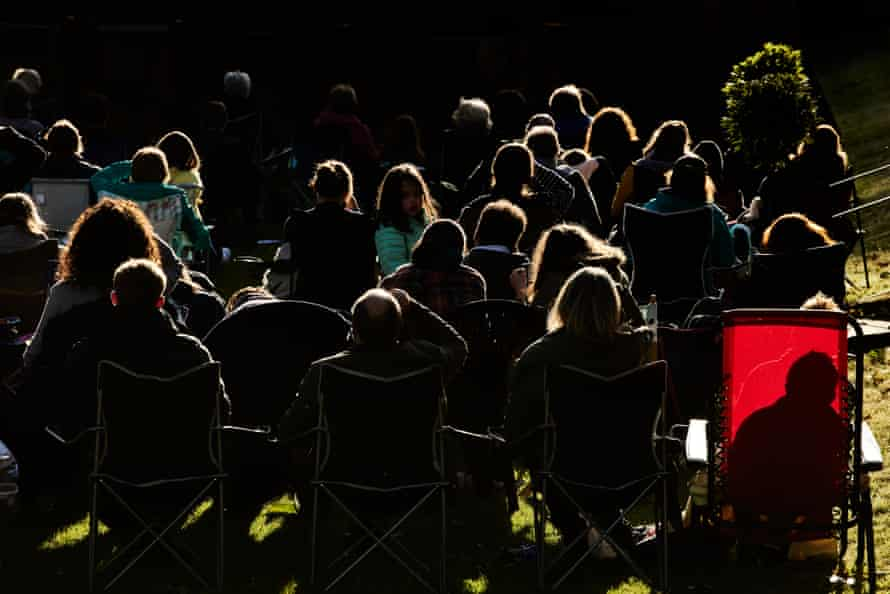 Audience in the evening light at King's, Ely.