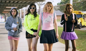 Abra (far right) with Odessa Young, Hari Nef and Suki Waterhouse in Assassination Nation.