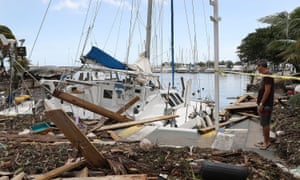 A damaged boat at the Dinner Key marina after Hurricane Irma passed through.