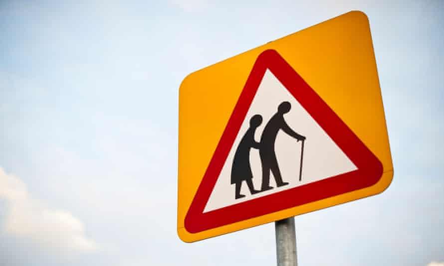 'Elderly people' road traffic warning sign