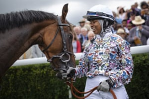 Khadijah Mellah, 18, from Peckham celebrates after winning with her horse Haverland in the charity race, the Magnolia Cup. Mellah learnt to ride at the charity Ebony Horse Club in Brixton and only sat on a racehorse for the first time in April this year
