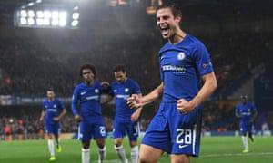 Cesar Azpilicueta celebrates after scoring Chelsea's third.