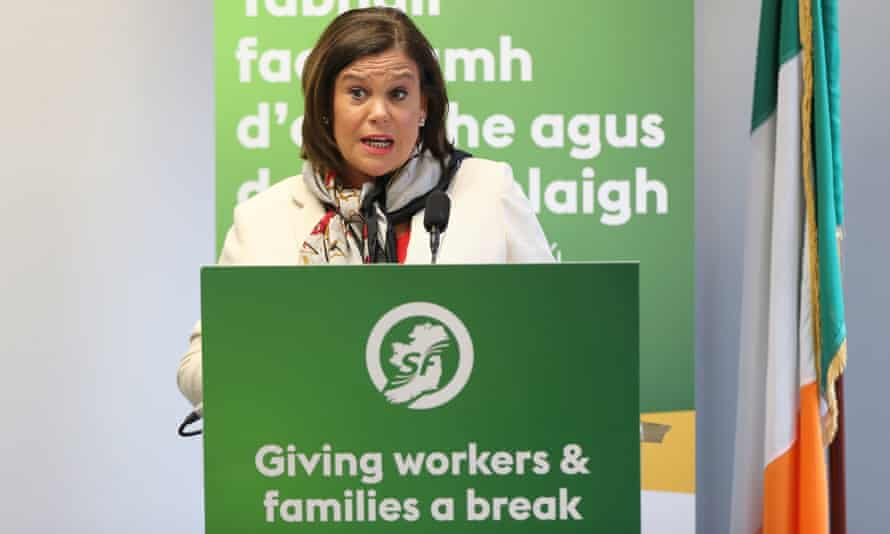 The Sinn Féin leader, Mary Lou McDonald, speaking at the launch of the party's general election manifesto in Dublin