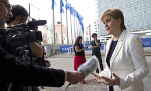 Nicola Sturgeon speaking to the media during her visit to Brussels on Monday.