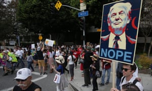 Demonstration in LA against election of Donald Trumpepa05628930 Thousands of demonstrators march in reaction to the election of Republican Presidential candidate Donald Trump as the 45th president of the United States, in Los Angeles, California, USA, 12 November 2016. EPA/MIKE NELSON