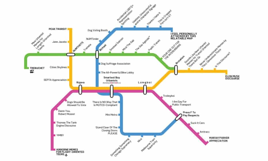 A metro-map style logo for the New Urbanist Memes for Transit-Oriented Teens Facebook group.
