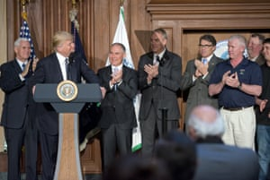 Donald Trump makes remarks prior to signing an executive order that reversed Obama-era climate change policies.