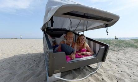 A strandkorb (a wicker basket beach chair with a hood) won't blow away at Eckernförde