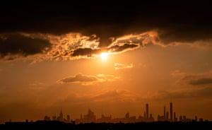 New York, US: The sun shines on the skyline of midtown Manhattan