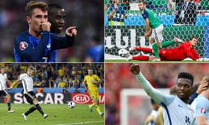 France's Antoine Griezmann, Northern Ireland's Niall McGinn, England's Daniel Sturridge and Germany's Bastian Schweinsteiger