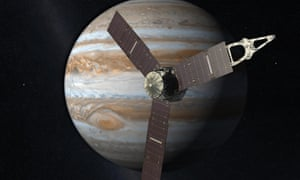 A 2010 artist's impression depicts Nasa's Juno spacecraft with Jupiter in the background.